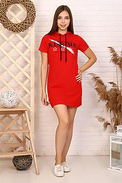 Платье трикотажное с капюшоном 12866