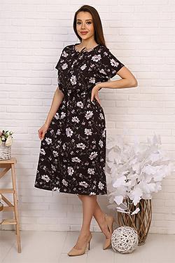 Платье трикотажное с цветочным принтом 20620