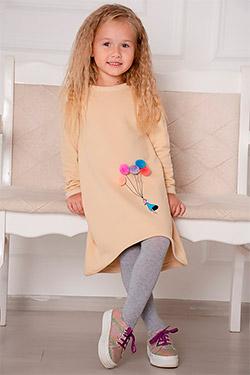 Платье с удлиненной спинкой и аппликацией 24302