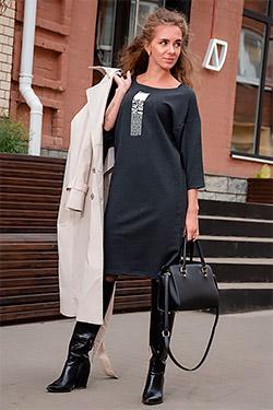 Платье модное с газетным принтом 24306