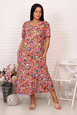 Платье трикотажное с отрезной талией 26053