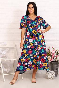 Платье трикотажное в стиле бохо 26055