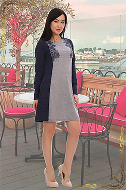 Платье женское кашемировое с рисунком 4410