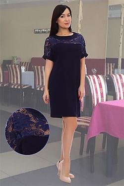 Платье женское с кокеткой из кружева 4625