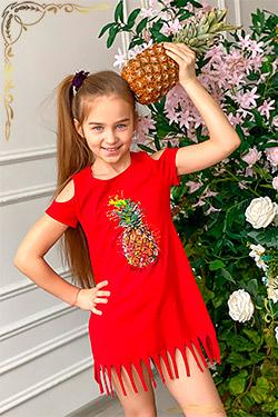 Платье детское на девочку с бахромой 5055