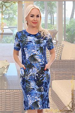 Платье больших размеров трикотажное с рисунком 6833