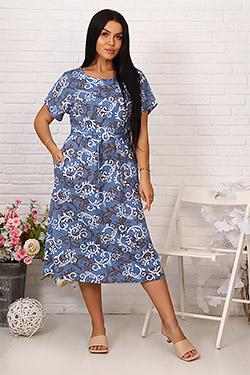 Платье летнее на поясе с декоративной пряжкой 6989