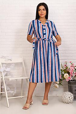 Платье трикотажное с планкой на пуговицах 6993