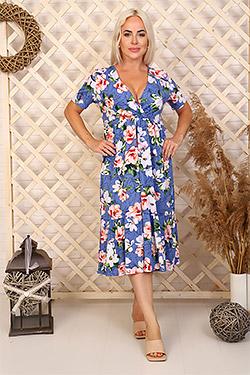 Платье свободного силуэта с глубоким вырезом 6994