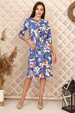 Платье трикотажное с завязками на горловине 6995