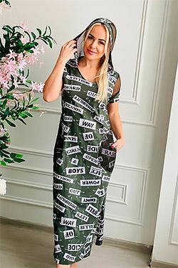 Платье удлиненное со вставками из сетки 7133