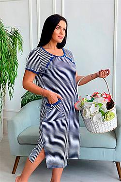 Платье трикотажное с накладными карманами 7273
