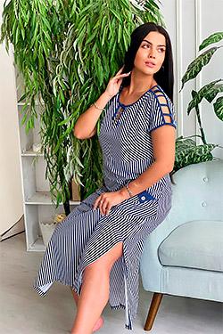 Платье трикотажное с перемычками на плечах 7274