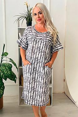 Платье трикотажное в полоску 9077