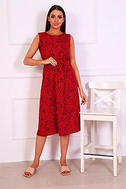 Платье из вискозы с поясом П155д