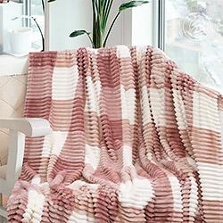 Плед флис Квадро пудра розовый