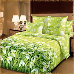 Комплект постельного белья Подснежники 1. Материал перкаль. Цвет зеленый.