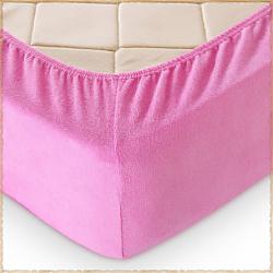 Махровая простыня на резинке Розовый