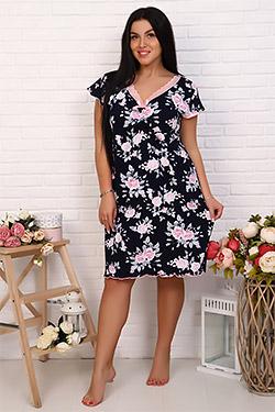 Сорочка женская с цветочным принтом 25704