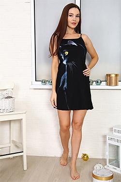 Сорочка женская с принтом кошка 5609