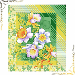 Вафельное полотенце Утренние цветы 50Х60