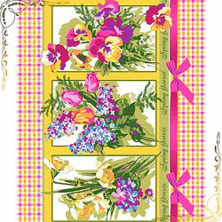 Вафельное полотенце Весенний букет 1, 50Х70