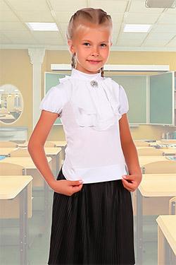 Водолазка на девочку школьная с жабо и брошью 31013