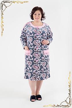Велюровый женский халат 3-139